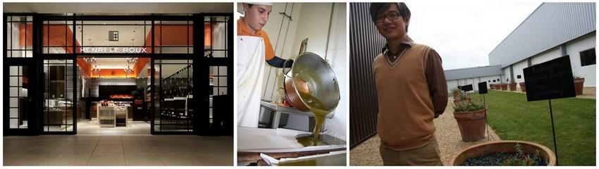De gauche à droite : Vitrine de la Maison Leroux à Tokyo (Japon); 2/ Caramélier en plein travail ; 3/ Makoto Ishii, le directeur général de la Maison Henri Le Roux, pose devant le laboratoire de Landévant (Crédit photos DR)