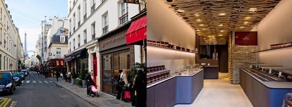 La troisième boutique de la Maison Le Roux à Paris, au pied de la Tour Eiffel. La réalisation de cet espace de vente est pour la première fois confiée à Kengo Kuma, architecte japonais de renommée internationale, et à Shuhei Hasado, un artiste-maçon japonais. (Crédit photos D.R.)