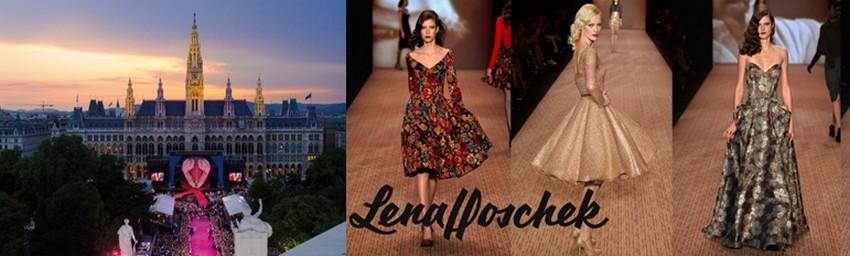 De gauche à droite : © Lifeball, Christoph Leder ; Défilé de la styliste autrichienne Lena Hoschek (  ©  Edwards.edwards.com)