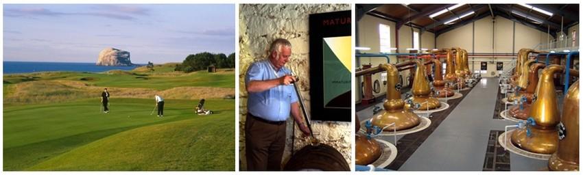 Golf en Ecosse (Crédit photo David Raynal) ; Distillerie à Oban (Ecosse) ;Glenfiddich Alambics  - Antonin Marcel Licence CC - (Crédit photo DR)