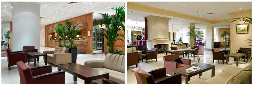 Le Hilton d'Orly  où l'ambiance est tout, sauf celle d'un hôtel de transit. Avec sa déco un rien rétro, l'accueil fait un peu penser à l'ambiance des liners (paquebots). (Crédit photos DR)