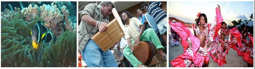 Fonds marins et musique traditionnelle pour accompagner les danseuses de Maloya (Crédit photos DR)