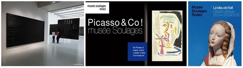 """De gauche à droite : « Outrenoirs en Europe » l'exposition temporaire inaugurale ;  « De Picasso à Jasper Johns. L'atelier d'Aldo Crommelynck » l'affiche témoigne de cette exposition décrochée en mars 2015; Affiche de l'exposition  de l'artiste Claude Lévêque  """" Le Bleu de l'œil """"  (Crédit photos 1/ Yann Menguy/2 et 3/ DR)"""