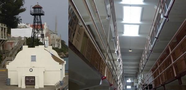 De gauche à droite : L'arrivée  dans la prison d'Alcatraz et vue sur l' enfilade des cellules haute sécurité  © Catherine Gary