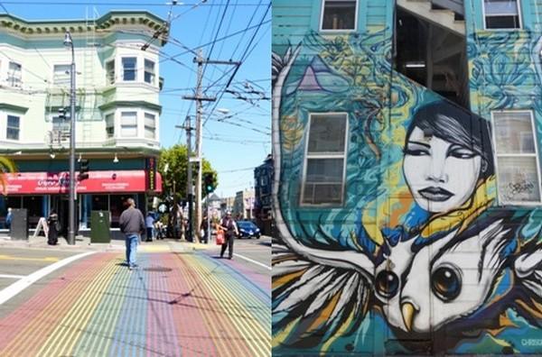 De gauche à droite : A castro les couleurs de la communauté gay s'affichent et à Mission le street art anime de nombreux murs.  © Catherine Gary