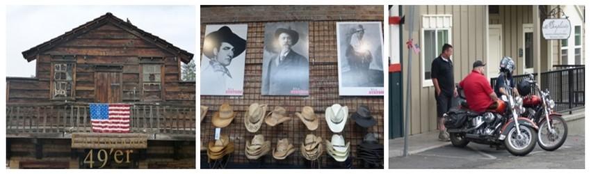 Mariposa offre une ambiance Far West  © Catherine Gary ; Panoplie des bottes et chapeaux de cow-boys en magasin et quelques bikers font une pause. © Catherine Gary