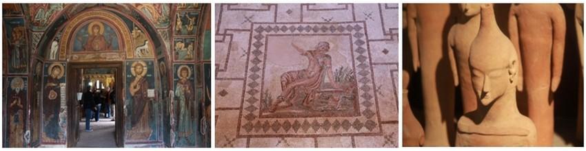 De gauche à droite : L'église byzantine Panagia tis Asinou, classée au Patrimoine mondial de l'UNESCO, dans la région du Troodos © P. Cros ; Les mosaïques de Paphos (2ème au 5ème siècle de notre ère) ornaient les sols des villas de riches romains. Elles sont inscrites au patrimoine mondial de l'UNESCO © Patrick Cros ; Figurine du 6ème siècle av. J.C. au Musée Archéologique de Chypre © P. Cros