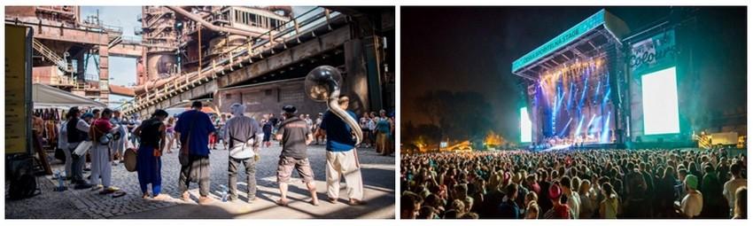 Ostrava accueille en juillet notamment à l'aplomb de ses immenses structures et tubulures de fer, le festival Colours of Ostrava (du 16 au 19 juillet) qui rassemble les plus prestigieux groupes de rock du moment.  ©  FestivalColours-ostrava-MatyasTheuer
