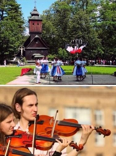 De haut en bas : L'écomusée de Rožnov pod Radhoštěm  ; Du 27 juin au 12 juillet, le festival international de musique « Hukvaldy, pays de Janáček»  ©  www.czechtourism.com/fr