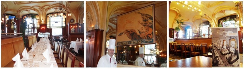 De gauche à droite  un intérieur signé par des maîtres de l'École de Nancy avec en souvenir l'image de la brasserie Moreau..©  Bertrand Munier