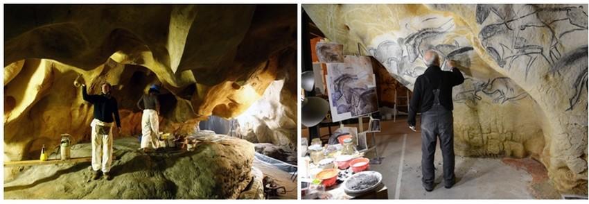 De gauche à droite : Edouardo peintre-patineur de AAB dans la zone 3 de la Caverne-du-Pont-dArc-©-SYCPA-; Atelierde Gilles Tosello à Toulouse@Carole Fritz
