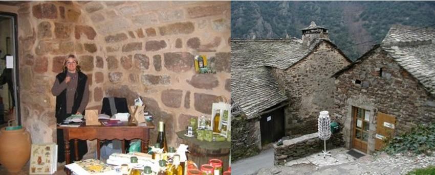 1/ Dominique Vincent, un enfant du pays a remis en activité un moulin à huile. Dans sa boutique, huile d'olive, tapenade voisinent avec les produits cosmétiques naturels élaborés par sa femme. © DR ;  2/  la Maison du Gerboul, une bâtisse à l'entrée du village propriété du Parc naturel régional des Monts d'Ardèche. © DR