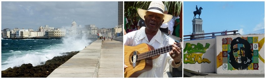 1/ Le Malecon, symbole flamboyant de la capitale cubaine  © DR ; 2/ La musique à Cuba est ommniprésente © Catherine Gary  3/ La Havane fidèle au Ché © Catherine Gary