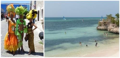 1/ Les femmes à Cuba se prêtent volontiers au regard des photographes ©  Catherine Gary ;  Une plage superbe aux eaux turquoises © Catherine Gary