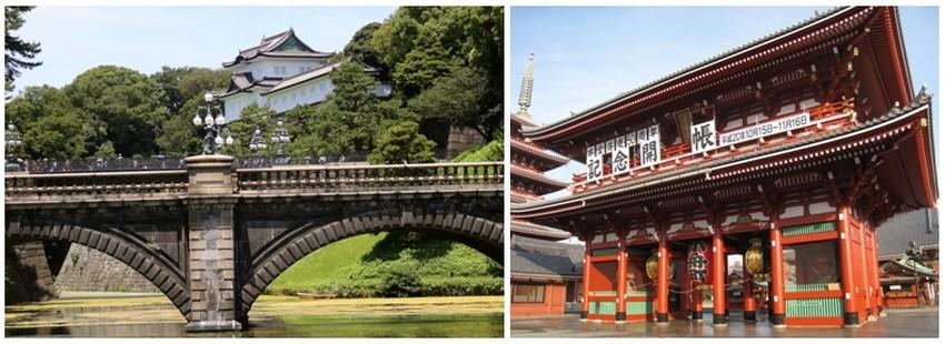 La capitale nippone est vivante et pleine de modernité mais il reste encore quelques hauts lieux appartenant au passé notamment à gauche le palais impérial et à droite le temple Sensoji. (Crédit photos Mathis Cros)
