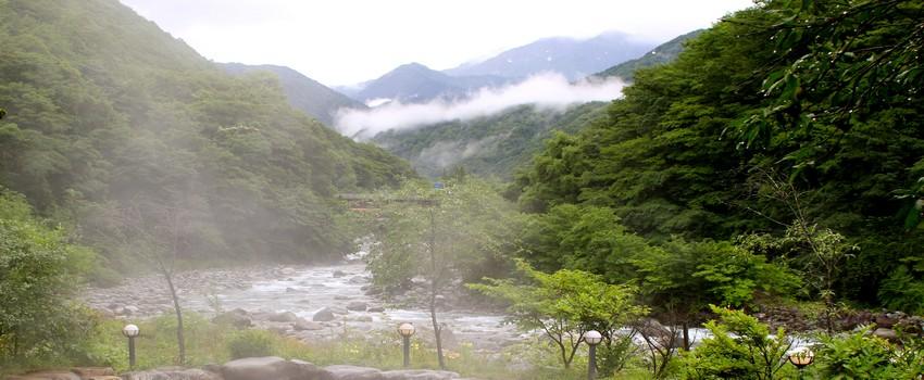Takayama, ville pittoresque de 90 000 habitants et de la taille d'un petit département français. Elle est située au centre des Alpes japonaises.- ski en hiver - et bains dans les eaux chaudes à ciel ouvert. (Crédit photo Mathis Cros)
