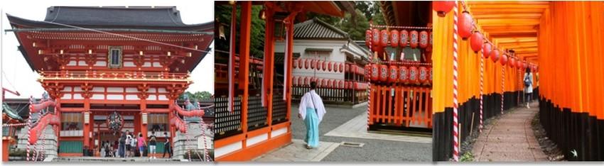le Fushimi Inari-Taisha Shrine, classé en 2015 « site le plus populaire du Japon auprès des touristes étrangers » par Tripadvisor, qui déroule ses 4 kilomètres de torii rouge  © Mathis Cros.