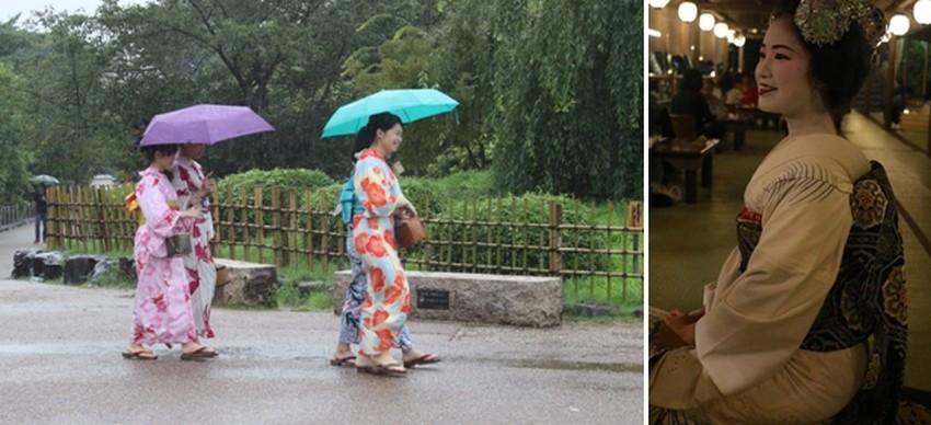 1/ touristes taiwanaises et chinoises  en habits traditionnels  dont l'origine remonte au XVIIIe siècle.; 2/  maikos (apprenties gheisas) et geishas que le hasard permet parfois d'entrevoir au coin d'une rue du quartier de Gion.© Mathis Cros