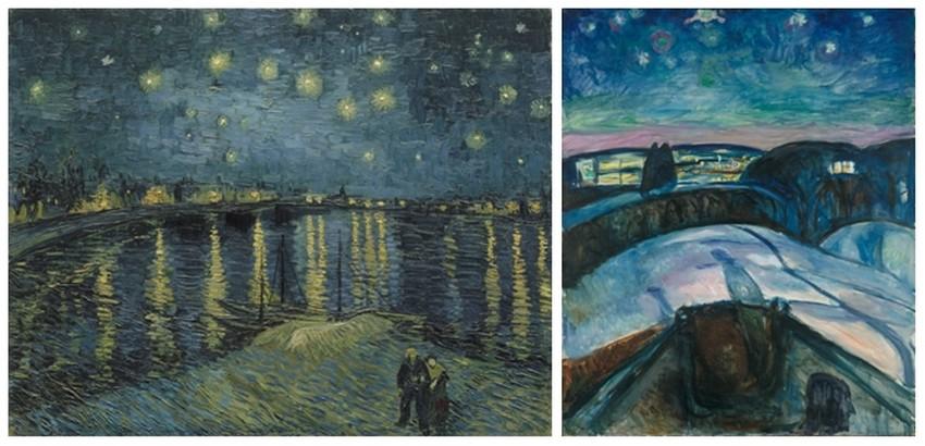 """©""""Nuit étoilée sur le Rhône"""" de Van  Gogh, 1888. Musée d'Orsay - """"Nuit étoilée"""" de  Edvard Munch, 1922. Musée Munch, Oslo"""