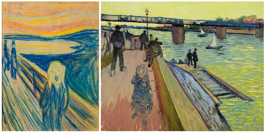 """© """"Le Cri"""" de Edvard Munch, 1893. Musée Munch, Oslo.  """"Le Pont à Trinquetaille"""" de Vincent van Gogh, 1888."""