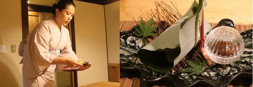 Habillées en élégant yukata, les hôtesses servent les repas ,des plats typiques à base de produits locaux,dans les salons particuliers.  © Mathis Cros.