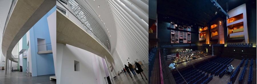 La grande salle  de la philarmonie présente des « falaises » taillées de fentes lumineuses par lesquelles on pénètre à différente hauteur dans les balcons de la salle, depuis une longue passerelle aérienne périphérique. © David Raynal