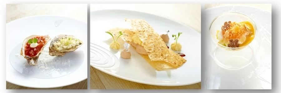 De gauche à droite :  Huîtres creuses « perles noires » Cadoret, poire comices au yuzu et condiments à la diable ;  Fines feuilles parfumées à la fève de tonka, mousse à la vanille de Tahiti et crème de Mont-Blanc ; Œuf de poule nacré, oignons nouveaux, aigre-doux de carottes, bianchetta et crumble parmesan;  © DR