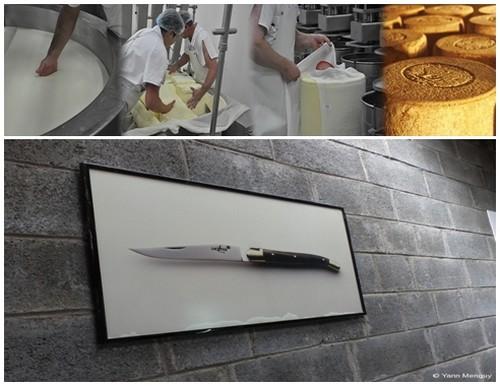Fabrication du fromage à la coopérative Fromagère Jeune Montagne  © DR ;  Au musée de Laguiole s'exposent les couteaux de la marque. © Yann Menguy