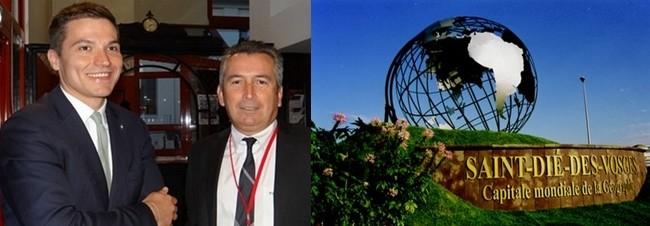 Le maire déodatien David Valence (à gauche) et son directeur de cabinet Patrick Schmitt coordinateur également du Fig. © Bertrand Munier ;  Saint-Dié-des-Vosges capitale mondiale de la géographie. © Bertrand Munier