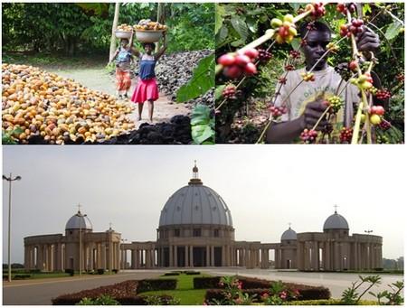 Photos 1 et 2/ Sur la route du cacao et du café  © DR ; 3/ Basilique Notre Dame de la Paix de Yamoussoukro  © DR