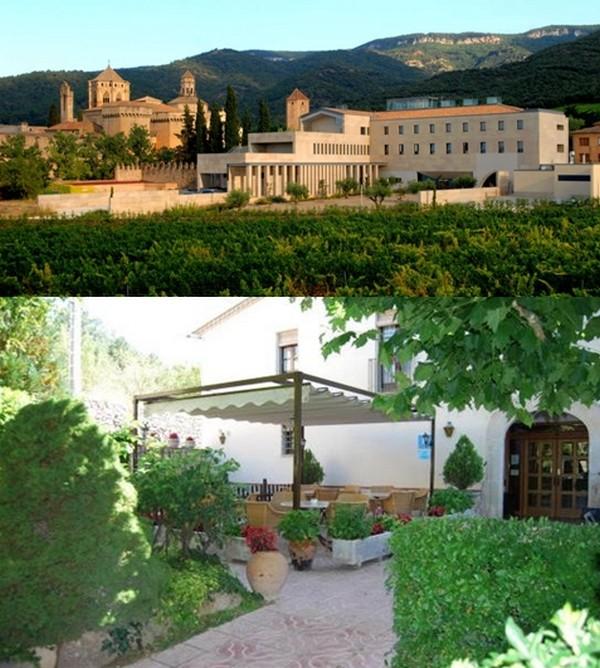 1/Site du monastère de Poblet ou se trouvent les chambres à  l'auberge hostatgeria  © DR ; 2/ Tout le charme  du restaurant Masia del Cadet à 1km de Poblet. © DR