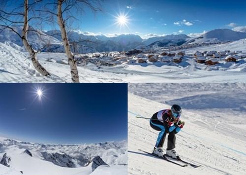 En haut vue panoramique de la station de ski de l'Alpe d'Huez © L.Salino; Son point fort est incontestablement le panorama du Pic Blanc qui culmine à 3330 mètres d'altitude, accessible grâce au téléphérique des Grandes Rousses © L.Salino;  Ophélie David, championne de ski-cross en pleine descente © L.Salino