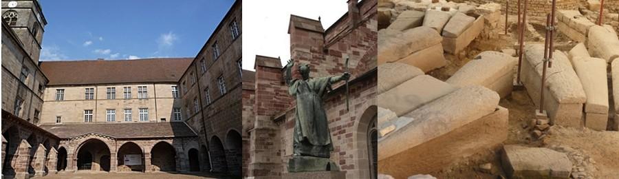 Le monastère de Luxeuil fondé par le moine irlandais Saint-Colomban; Découverte en pleine ville d' une crypte mérovingienne avec tout autour plus de cent vingt-cinq sarcophages en pierre dure parfaitement conservés et que tout visiteur peut admirer à l'air libre aujourd'hui.  © Catherine Gary