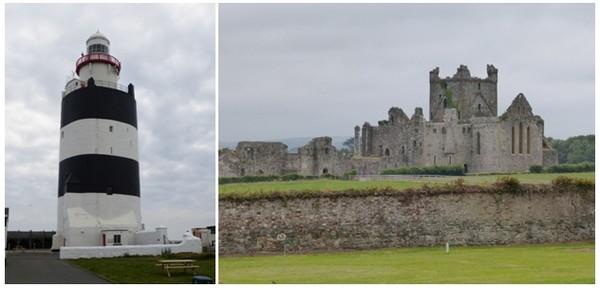 Au sud du comté, l'antique phare de Hook Hand veille depuis des lustres sur sa péninsule © Catherine Gary; l'abbaye cistercienne de Dunbrody, une ruine du 12è siècle dont la silhouette se dresse dans un paysage sauvage.© Catherine Gary