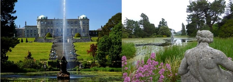 Le château de Powercourt de style palladien érigé au cœur de 20 ha de jardins créés en 1740. © Catherine Gary