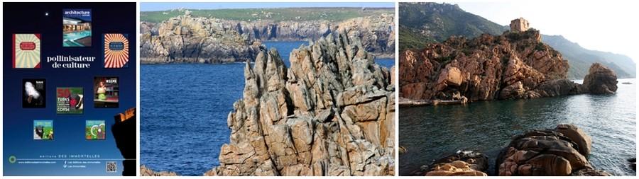 De gauche à droite : présentation des éditions corses immortelles ; une très belle vue sur  l'île de Ouessant (Finistère) © David Raynal; L'extraordinaire paysage marin de la baie de Porto (Haute-Corse) © David Raynal