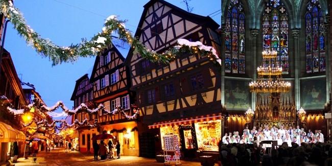 A gauche Obernai (Alsace) pendant les fêtes de Noël   © Catherine Gary;  La messe de Noël d'Obernai célébrée sous le lustre composé de boules de Noël soufflées à Meisenthal  © Catherine Gary