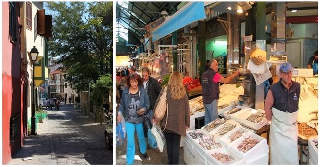 Ruelle près du centre de Thessalonique ©  André Degon ; Le  célèbre marché Kapani toujours très fréquenté. ©  André Degon