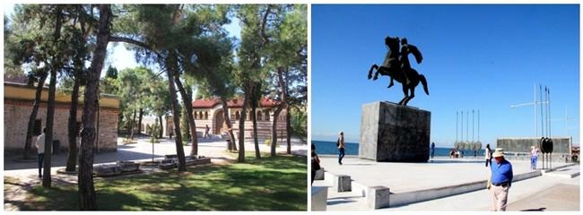 Thessalonique, Jardins du monastère des Vlatades © André Degon ; Et la statue d'Alexandre le Grand sur la promenade © André Degon