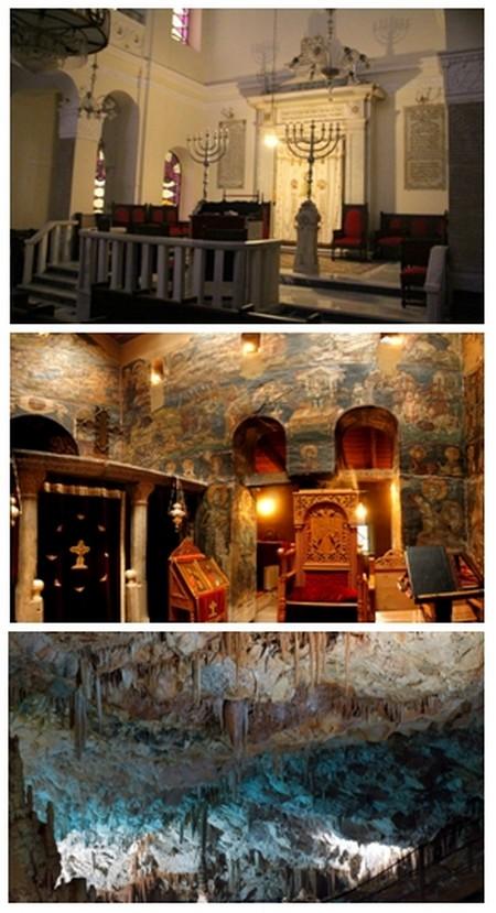 1/ Synagogue Monastirioton ©  André Degon ; 2/ Les trésors de l'église Saint Nicholas Orphanos  © Anna Schön ;  3/  Stalactites dans la grotte de Petralona  © DR