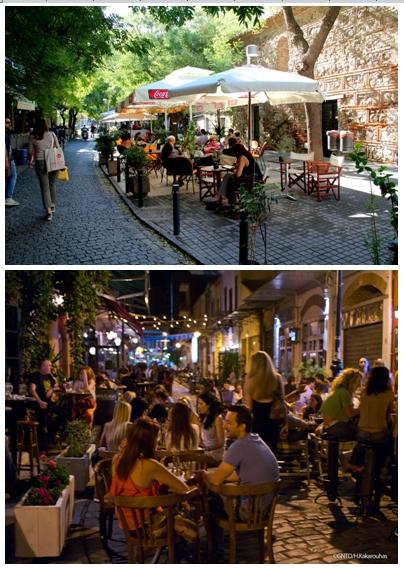 Thessalonique est une ville qui possède de paisibles cafés où il fait bon se détendre, mais cette ville, également universitaire, ouvre ses bars à une heure avancée de la nuit..  © André Degon