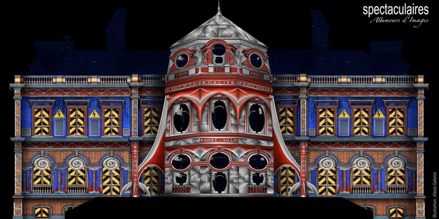 """Mapping sur l'hôtel de ville pour l'évènement qui a lieu chaque année : """" Habits de Lumière """"  © Ville d'Epernay."""
