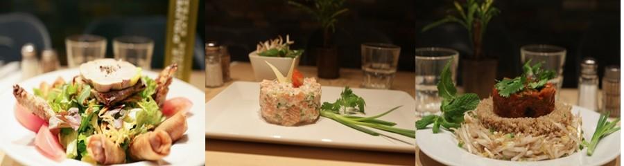 1/ Salade du Chef Nil  ;  2/Tartare de saumon au gingembre ; 3/ Chaud- froid ratatouille et quinoa ©LESPICYHOMEPARIS