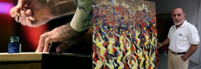 """""""Mon travail est un travail graphique au pinceau et à l'encre de chine.""""  © David Raynal ; """"Grâce à une résidence d'un mois à la bibliothèque de Salvador de Bahia j'ai pu réaliser mes grandes toiles (1m70 X 1m70) et mes fresques """".  © David Raynal"""
