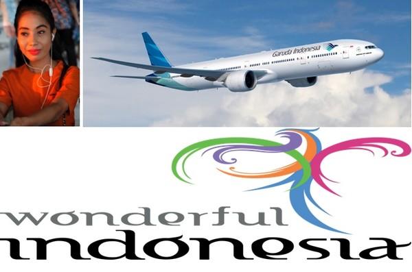 Une très jolie Hôtesse de la Cie d'aviation Garuda Indonésia ; 2/ Logo office de tourisme Indonésia.  O.T. Indonésia
