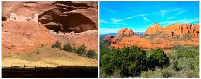 De gauche à droite : 1/ Les Hohokums vivaient en Arizona près de Phoenix et édifiaient des tumulus © Arizona-tourisme; 2/ terres sacrées des Indiens : Nouveau-Mexique, Arizona, Névada et Californie.© Arizona-tourisme