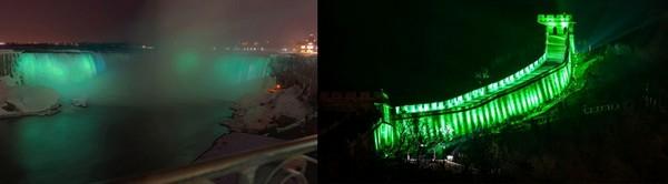 Les célèbres Chutes du Niagara aux couleurs de la Saint-Patrick. C'est un grand moment. © www.ireland.com ; Photo de droite : La Grande Muraille de Chine a voulu aussi se parer de vert. Le résultat est tout simplement magnifique. © www.ireland.com