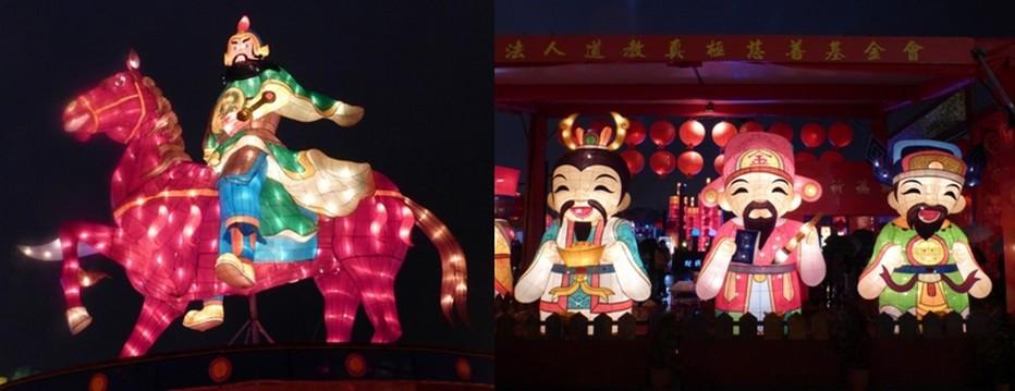 un cavalier à l'air sévère perché sur son cheval qui se cabre  et héros de  mangas. Un étonnant syncrétisme de ces effigies dominées bien sûr par le singe, le signe du calendrier chinois de cette nouvelle année.   © Catherine Gary