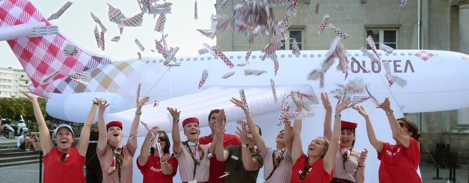 VOLOTEA reçoit son premier AIRBUS A 319 et célèbre son arrivée lors d'un vol inaugural. © Loïck Ducrey