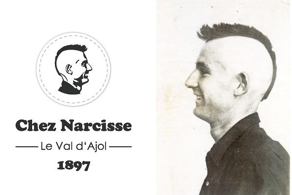 Le logo de l'établissement en mémoire de Narcisse Collot. ©Bertrand Munier; Suite à un pari osé pour son époque, Narcisse Collot fut un précurseur avant l'heure avec sa coupe de cheveux. ©Famille Collot